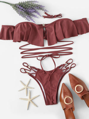 My Lovely Pearl Cut Out Bikini Set