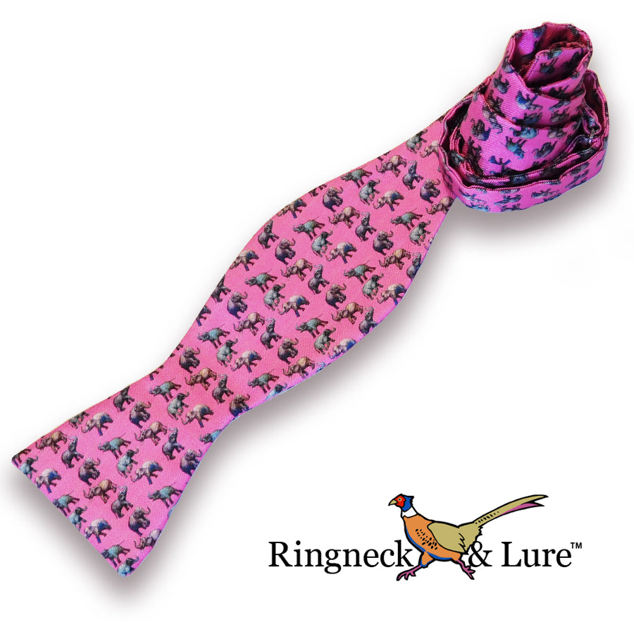 Elephants Raspberry Bow Tie