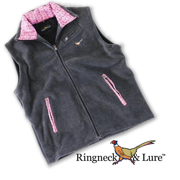 Elephants Raspberry Graphite Gray Fleece Vest