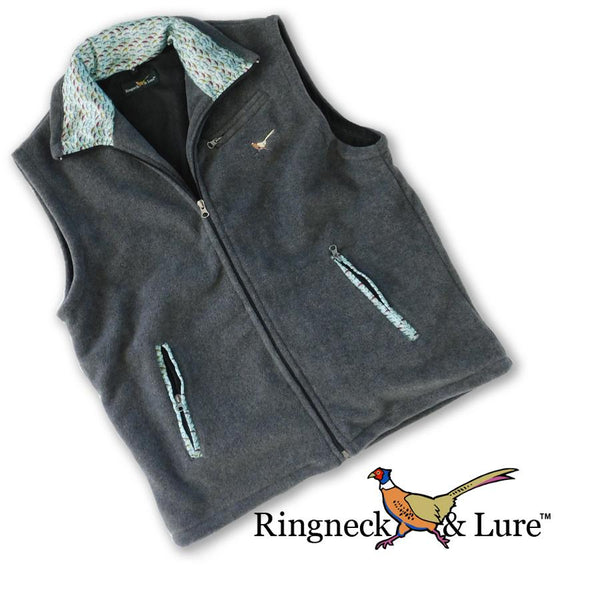Lake Lures Teal Graphite Gray Fleece Vest