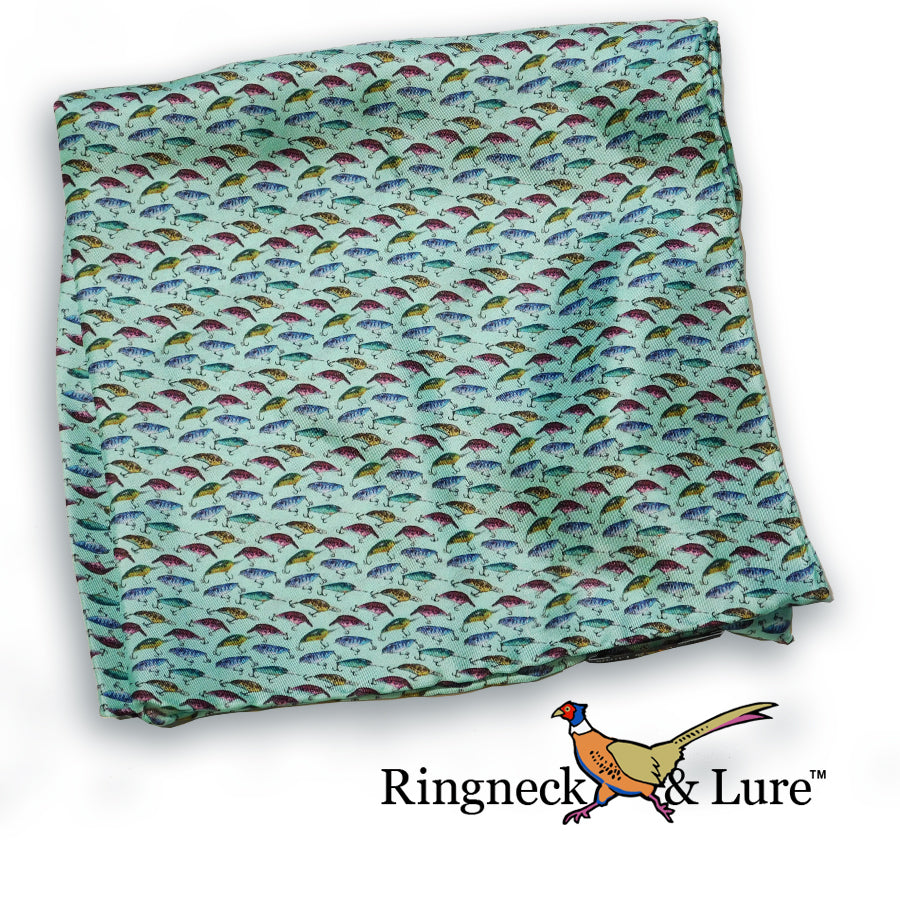 Lake Lures-Teal Pocket Square