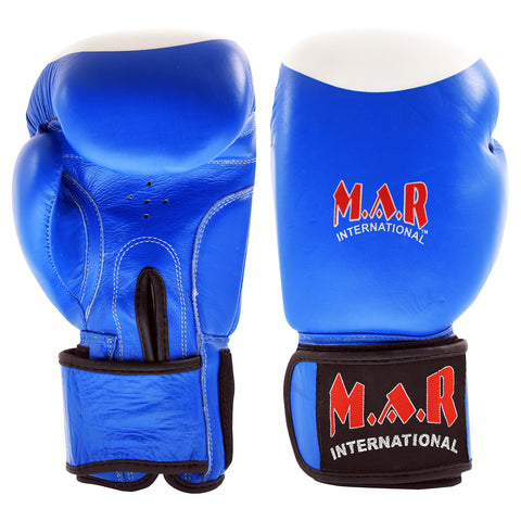MAR-107A | Blue Genuine Cowhide Leather Boxing/Kickboxing Gloves