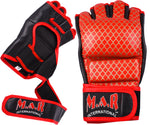 MAR-236 | Genuine Leather Red MMA Competition Gloves Open Palm