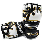 MAR-406 | Gold+White IPPON MMA Gloves - quality-martial-arts