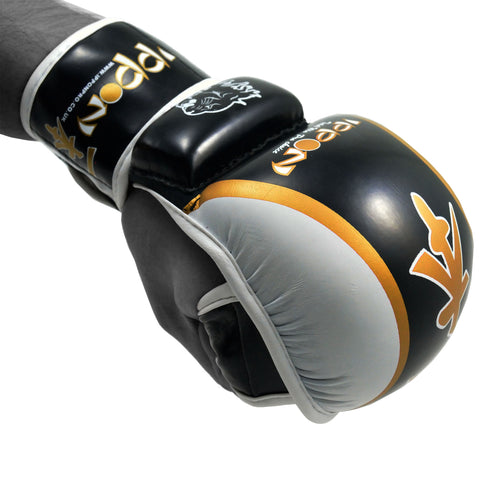 MAR-409 | Yellow+Black IPPON Open Finger Striking Gloves - quality-martial-arts