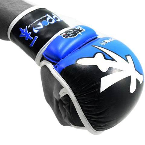 MAR-408 | Blue+Black IPPON Open Finger Leather Striking Gloves - quality-martial-arts