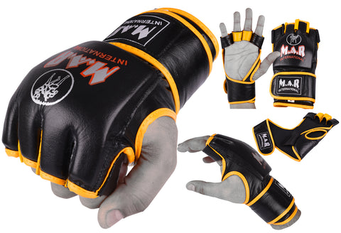 MAR-239 | Black+Yellow Genuine Leather MMA Grappling Gloves