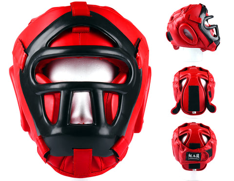 MAR-134A | Red Head Guard w/ Grill Mask For Training