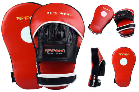 MAR-199 | Red+Black Genuine Leather Large Curved Focus Mitts