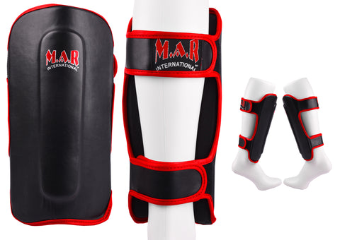 MAR-153B | Multilayered Black Shin Guards