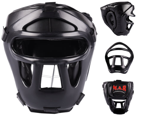MAR-134B | Black Head Guard w/ Grill Mask For Training