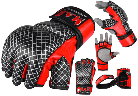 MAR-235 | Genuine Leather Red+Black Open Finger MMA Gloves