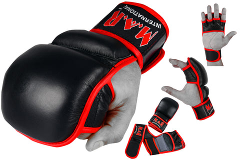 MAR-233 | Genuine Leather Black MMA Gloves w/ Red Lining