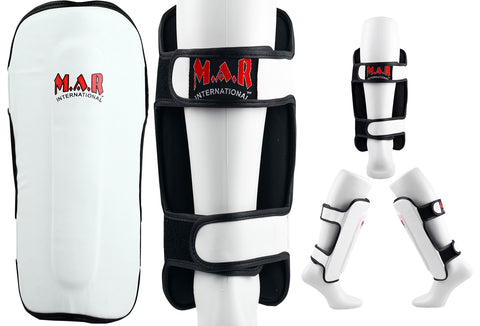 MAR-153D | Multilayered White Shin Guards