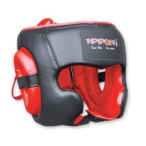 MAR-130 | Red & Black IPPON Boxing Head Guard For Training - quality-martial-arts