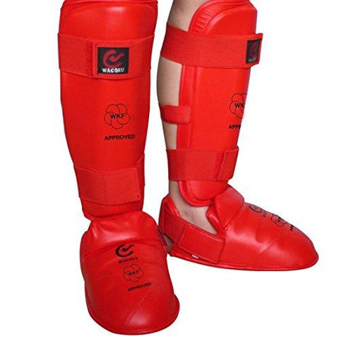 MAR-193D | WKF Approved Red Karate Sparring Shin & Instep Pads - quality-martial-arts