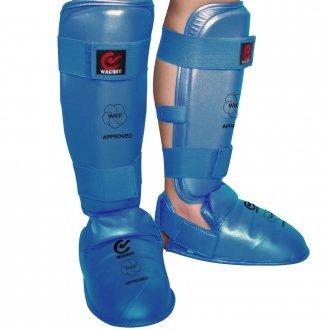 MAR-193F | WKF Approved Blue Karate Sparring Shin & Instep Pads - quality-martial-arts