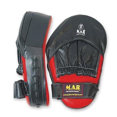 MAR-196 | Red+Black Genuine Leather Large Curved Focus Mitts - quality-martial-arts