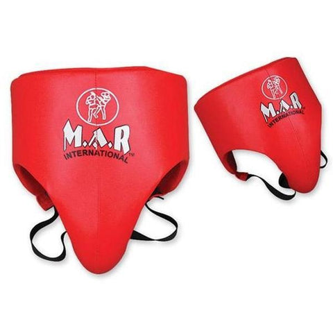 MAR-213 | Red Boxing Leather Groin Guard - quality-martial-arts