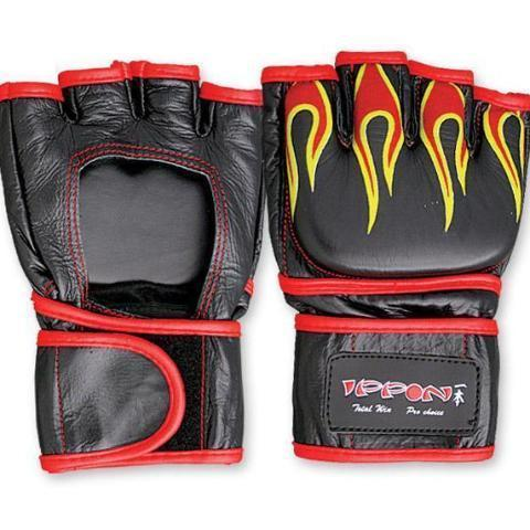 MAR-234 | Genuine Leather MMA Open Palm Gloves w/ Flames - quality-martial-arts