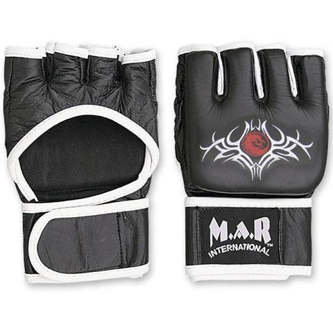 MAR-237 | Genuine Leather Black MMA Gloves w/ White Lining - quality-martial-arts