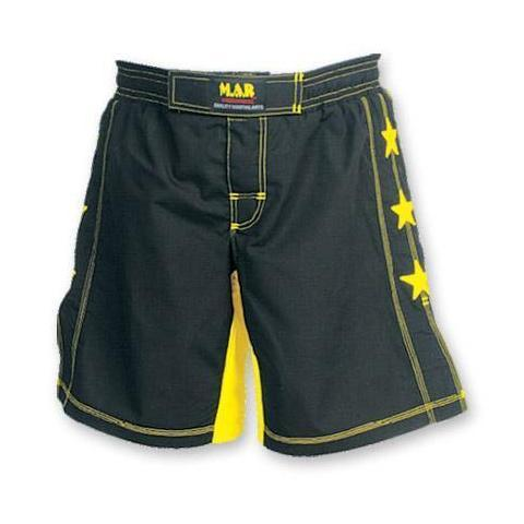 MAR-244C | Black+Yellow MMA Super Stretchable Shorts - Double Layered - quality-martial-arts