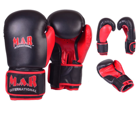 MAR-111 | Black & Red Boxing & Kickboxing Gloves
