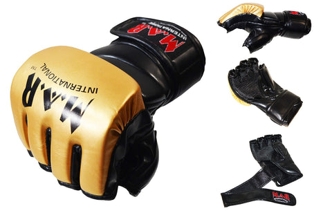 MAR-234C- Gold/Black Synthetic Leather MMA Gloves - Quality Martial Arts