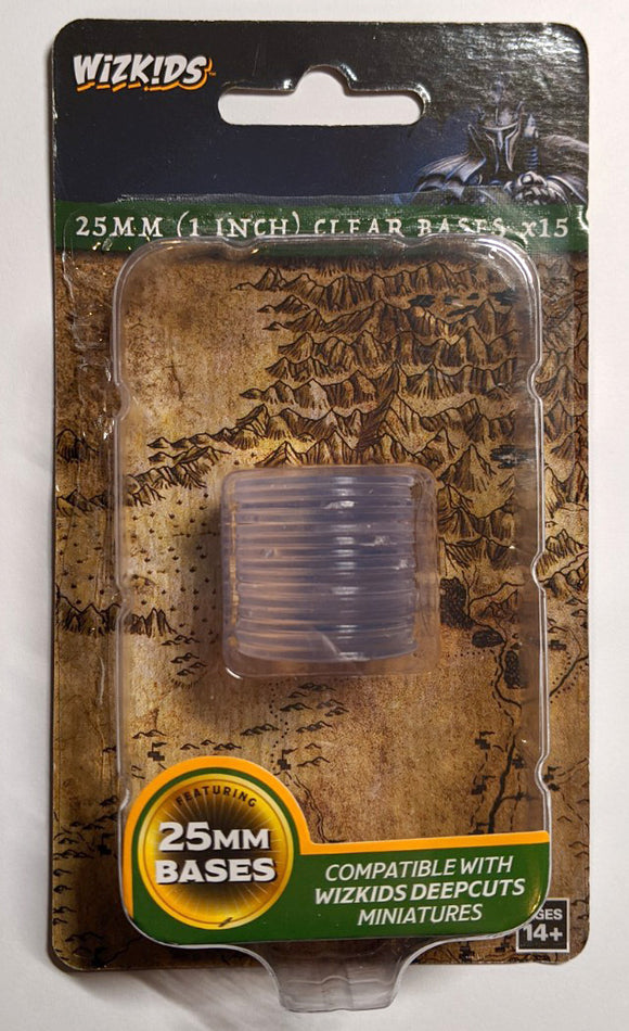 WizKids Deep Cuts: 25mm (1 inch) Clear Bases (15) (73594)