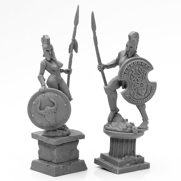 Reaper Bones Black: Amazon and Spartan Living Statues (Bronze) (44126)