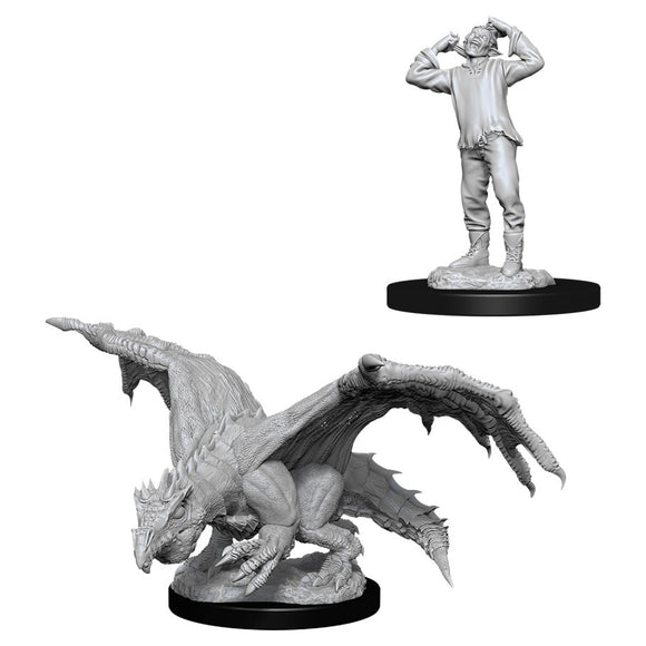 PREORDER - D&D Nolzur's Marvelous Miniatures: Green Dragon Wyrmling & Afflicted Elf (90029)