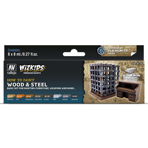 Vallejo WizKids Premium Paints Set: Wood & Steel (80.256)