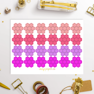 Foil Tiny Hexagon Functional Planner Stickers