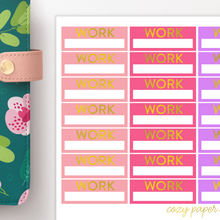 Load image into Gallery viewer, Foil Work Label Functional Planner Stickers