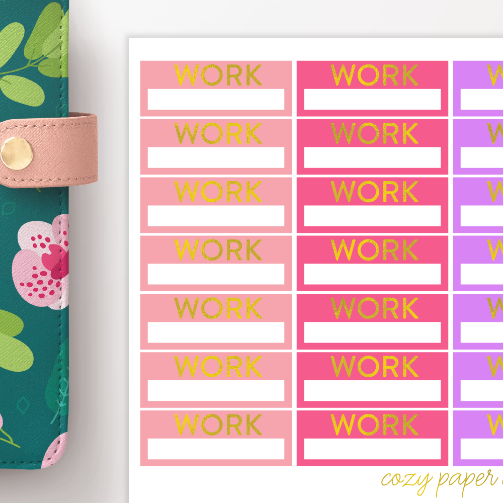 Foil Work Label Functional Planner Stickers
