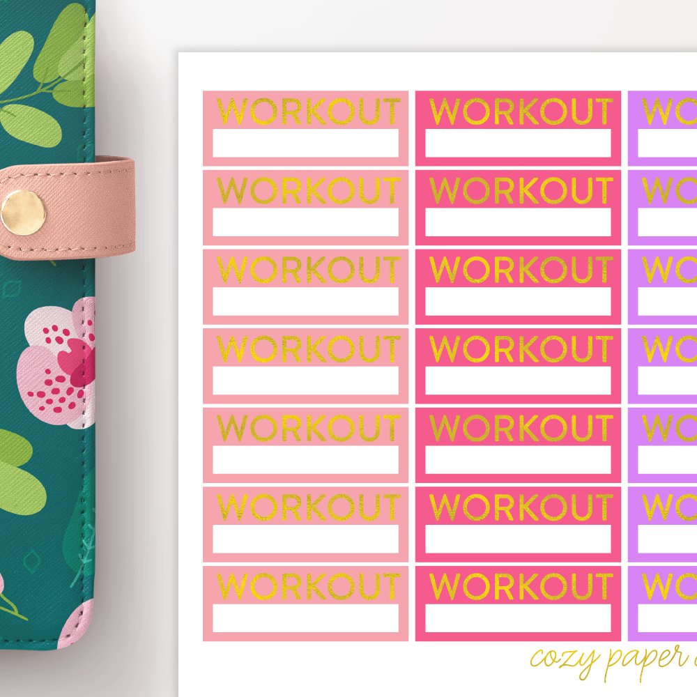 Foil Workout Label Functional Planner Stickers