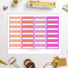 Load image into Gallery viewer, Foil Workout Label Functional Planner Stickers