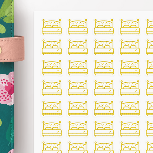 Foil Bed Icon Planner Stickers