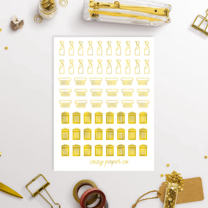 Small Foiled Cleaning Reminder Planner Icons