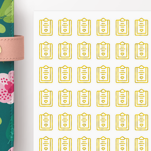 Foil Clipboard Icon Planner Stickers