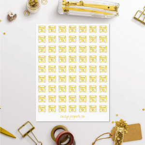 Foil Dishwasher Functional Icon Planner Stickers