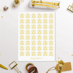 Foil Dog House Icon Planner Stickers