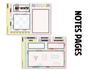 Carnival Summers Monthly Kit - Notes Pages (Any Month)