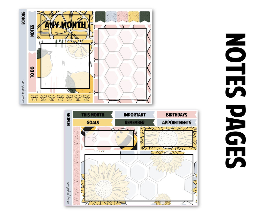 Sunflowers Monthly Kit - Notes Pages (Any Month)