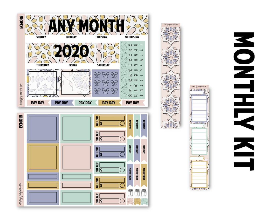 Backsplash Monthly Kit - Monthly Spread (Any Month - 2021)