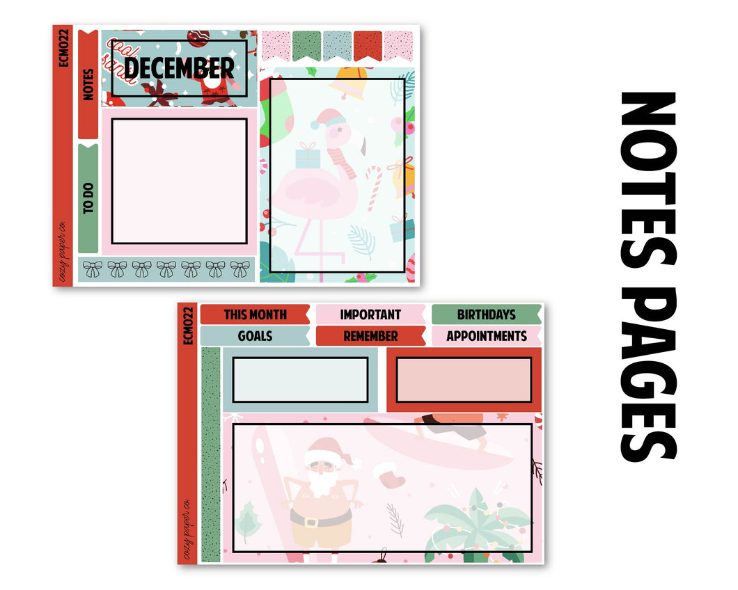 December Sunny Santa Monthly Kit - Notes Pages