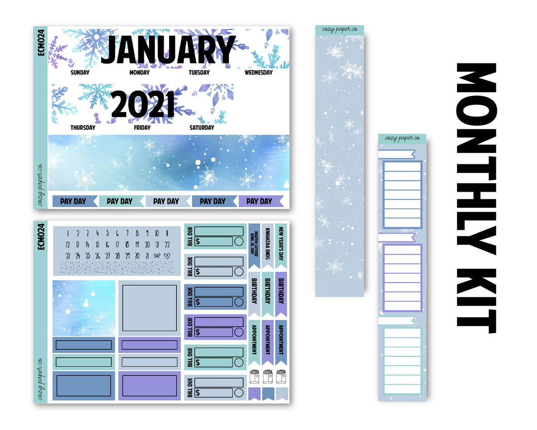 Snowflake January Monthly Kit - Monthly Spread