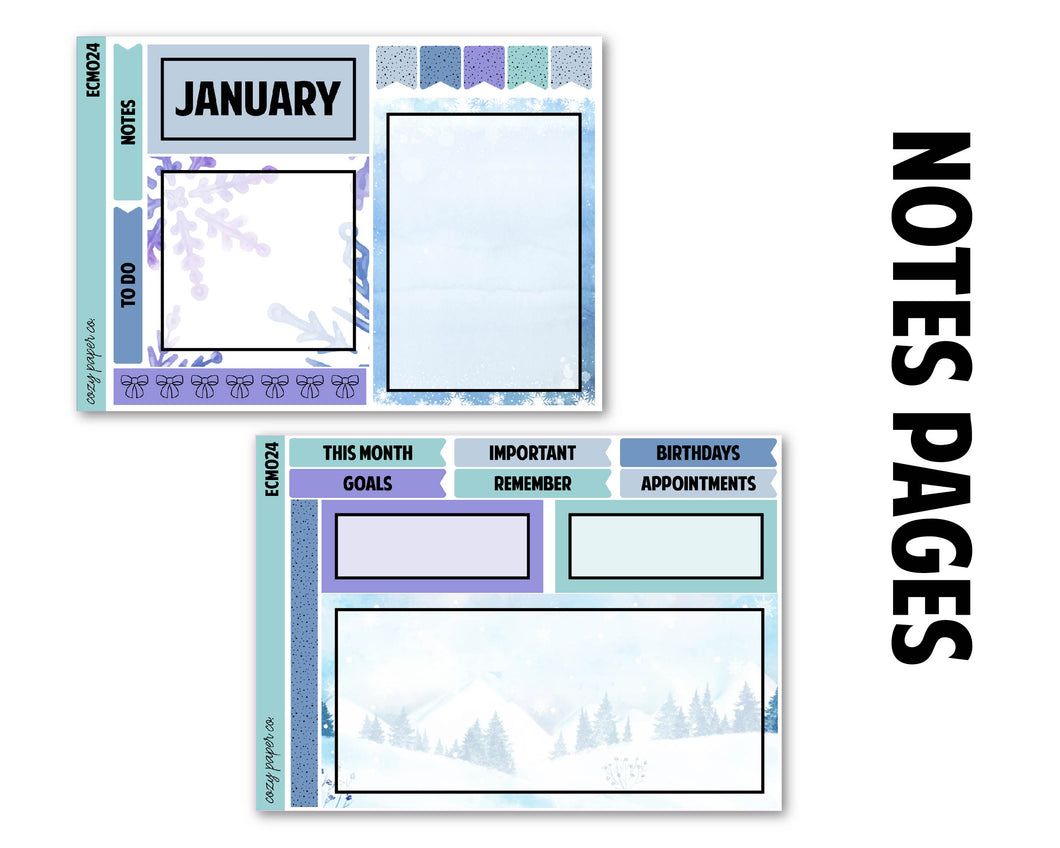 Snowflake January Monthly Kit - Notes Pages