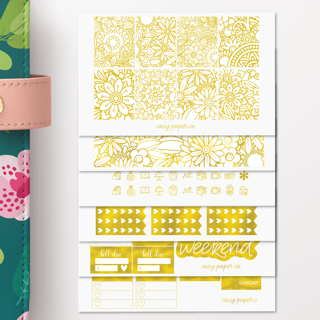 Foil Overload Coloring Weekly Sticker Kit for Erin Condren