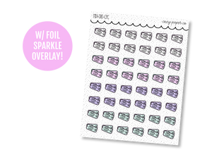 Hand Drawn Foil Sparkle Movie Ticket Icons